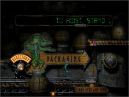 In game image of Oddworld: Abe's Oddysee on the Sony Playstation.
