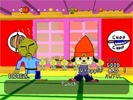 In game image of PaRappa the Rapper on the Sony Playstation.