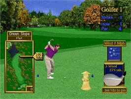 In game image of Peter Jacobsen's Golden Tee Golf on the Sony Playstation.