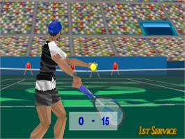 In game image of Power Serve 3D Tennis on the Sony Playstation.
