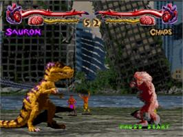 In game image of Primal Rage on the Sony Playstation.
