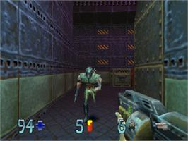 In game image of Quake II on the Sony Playstation.