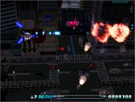 In game image of R-Type Delta on the Sony Playstation.