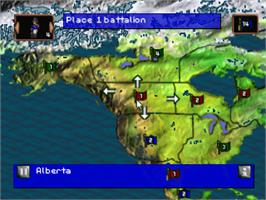In game image of RISK: The Game of Global Domination on the Sony Playstation.