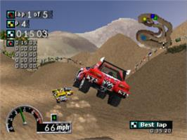 In game image of Rally Cross on the Sony Playstation.