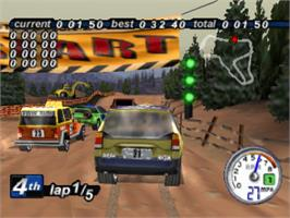 In game image of Rally Cross 2 on the Sony Playstation.
