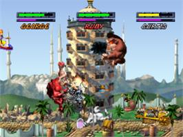 In game image of Rampage Through Time on the Sony Playstation.