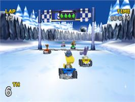 In game image of Rascal Racers on the Sony Playstation.