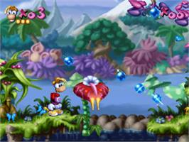 In game image of Rayman on the Sony Playstation.