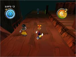 In game image of Rayman Rush on the Sony Playstation.