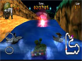 In game image of Renegade Racers on the Sony Playstation.