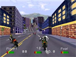 In game image of Road Rash: Jailbreak on the Sony Playstation.