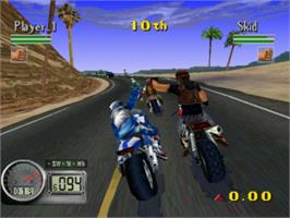 In game image of Road Rash 3-D on the Sony Playstation.