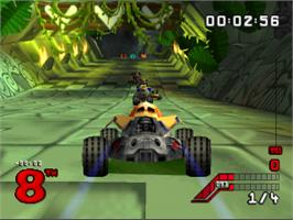 In game image of S.C.A.R.S. (Super Computer Animal Racing Simulation) on the Sony Playstation.