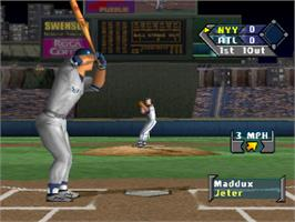 In game image of Sammy Sosa High Heat Baseball 2001 on the Sony Playstation.