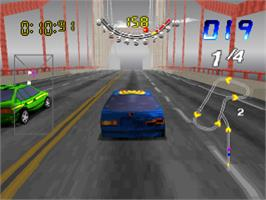 In game image of San Francisco Rush: Extreme Racing on the Sony Playstation.
