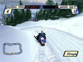 In game image of Sled Storm on the Sony Playstation.
