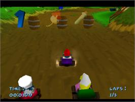 In game image of Smurf Racer on the Sony Playstation.