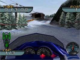 In game image of Sno-Cross Championship Racing on the Sony Playstation.