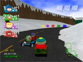 In game image of South Park Rally on the Sony Playstation.