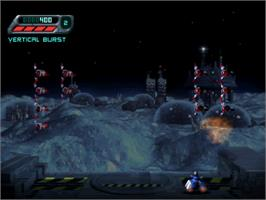 In game image of Space Invaders on the Sony Playstation.