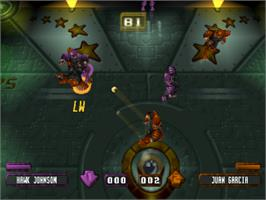 In game image of Speedball 2100 on the Sony Playstation.