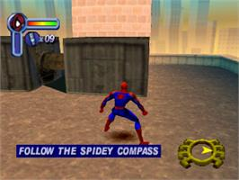 In game image of Spider-Man on the Sony Playstation.