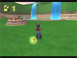 In game image of Spyro the Dragon on the Sony Playstation.