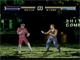 In game image of Street Fighter: The Movie on the Sony Playstation.