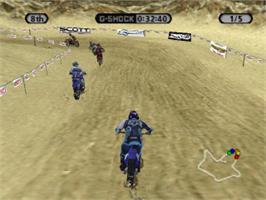 In game image of Supercross Circuit on the Sony Playstation.