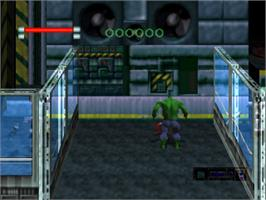 In game image of The Incredible Hulk: The Pantheon Saga on the Sony Playstation.