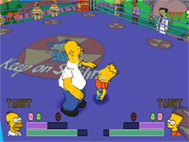 In game image of The Simpsons Wrestling on the Sony Playstation.