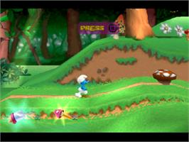 In game image of The Smurfs on the Sony Playstation.