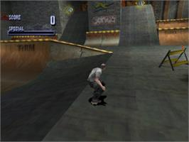 In game image of Tony Hawk's Pro Skater on the Sony Playstation.