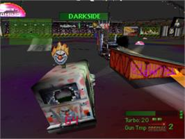 In game image of Twisted Metal on the Sony Playstation.