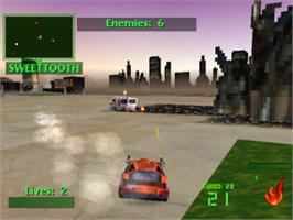 In game image of Twisted Metal 2 on the Sony Playstation.