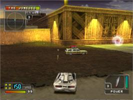 In game image of Twisted Metal 4 on the Sony Playstation.