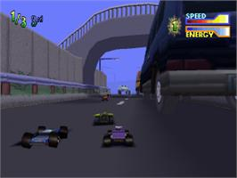 In game image of Tyco R/C: Assault with a Battery on the Sony Playstation.