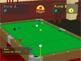 In game image of Virtual Pool on the Sony Playstation.