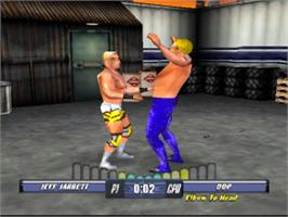 In game image of WCW Backstage Assault on the Sony Playstation.