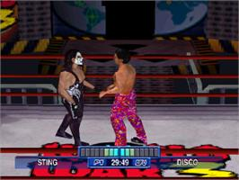 In game image of WCW Mayhem on the Sony Playstation.