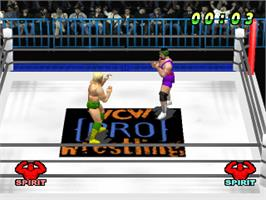 In game image of WCW vs. the World on the Sony Playstation.