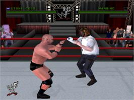 In game image of WWF Attitude on the Sony Playstation.