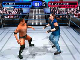 In game image of WWF Smackdown! on the Sony Playstation.
