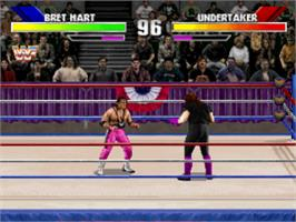 In game image of WWF Wrestlemania: The Arcade Game on the Sony Playstation.