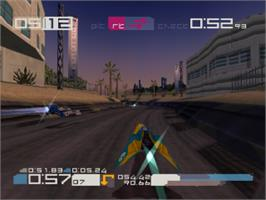 In game image of Wipeout 3 / Destruction Derby 2 on the Sony Playstation.