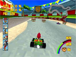 In game image of Woody Woodpecker Racing on the Sony Playstation.