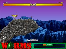 In game image of Worms on the Sony Playstation.