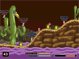 In game image of Worms Armageddon on the Sony Playstation.