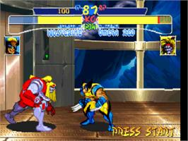 In game image of X-Men: Children of the Atom on the Sony Playstation.
